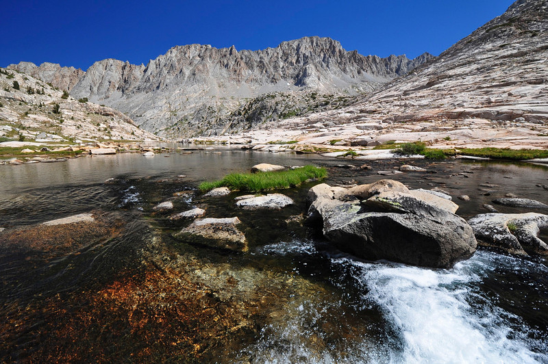 Mt. Mendel & Mt. Darwin, Sapphire Lake Outlet, Evolution Basin, Kings Canyon National Park.