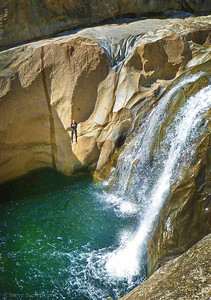 Jump Canyon  A view from Jump Canyon. Jumper Frank Phillips falling 35-40 ft into an abyss below. You gotta have cajones and form to not hurt yourself jumping from that high up. It took most of the day going down and through the canyon. ~ California
