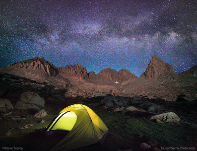 Backpacking tent in Kings Canyon under the Milky Way.  Had a little teamwork on this one, Christina had her headlamp set up in the perfect spot with out knowing it! She was feeling the altitude on this trip so I had to carry a little more then I expected to keep her moving along. With the strong winds out I thought Christina might of wanted to turn around but she toughed it out and I'm glad! I came to shoot the alpen glow but think I like the night view more then the day stuff. This little old tent is about 10 years old and this may be it's last photo. Too bad we don't get the trade ins on tents or customer loyalty discounts!! It certainly lasted a lot longer then I though they would have, it was less then a 100 bucks and all I could afford at the time. I'll get a lighter one next time!  It was a cool trip, meaning on the cold side.  We didn't jump into any of the mountain lakes or broke much of sweat because there was a constant breeze to keep our temps cool while hiking.  Christina saw her first yellow bellied marmot and thought it would make a great friend for her pet dog to play with, that would be funny, a giant chihuahua playing w/ a marmot!  We pitched the tent up next to the tallest boulder to block the wind, it's blurring parts of the tent in this shot but it was stretched out pretty far with guy lines so you can't really see much blur in it all unless you look closely.  This was just a random unplanned shot where I knew I could use the 3 different layers make the scene work and fill the frame with interesting subject matter.  The Sierra has been pretty cloudless this late spring and early summer season.  I love to frequent the places I shoot to get know the weather that isn't the same every year.  Some years we have almost cloudless summers and some we get more then the usual fair of afternoon thunder storms.  I love going light with out a tent but haven't been caught in a rain, hail or thunder storm with a tent, but maybe someday I'll get pelted to no end by baseball sized hail!!