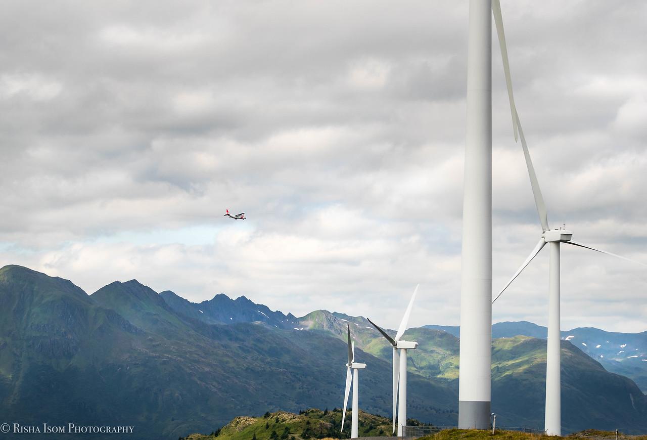 HC-130 flying past Pillar Mountain.