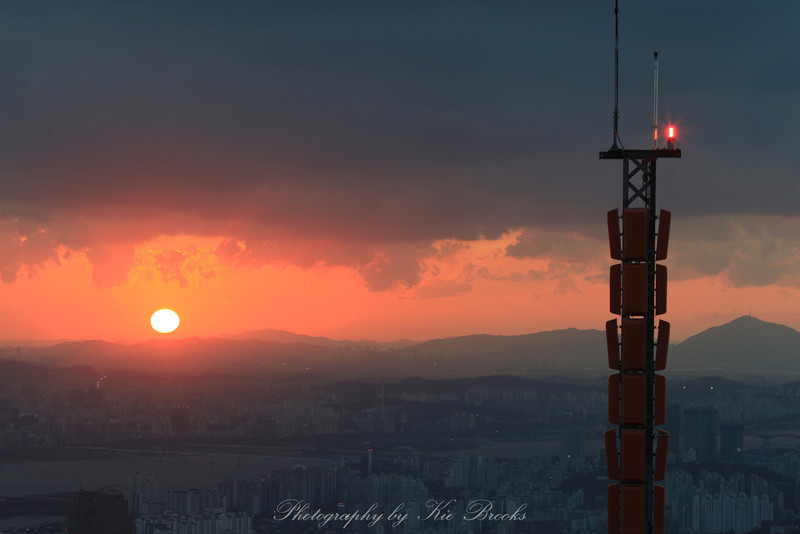 View over Seoul at sunset.