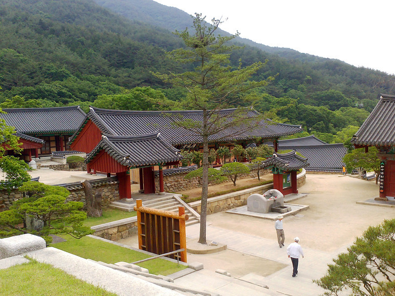 Overlooking the Gakhwangjeon Pavilion at the Hwaeomsa Temple in Jirisan National Park.<br /> <br /> 1 June 2013