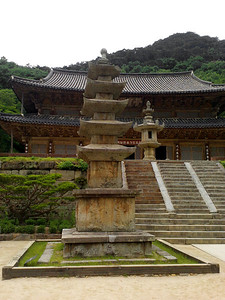 The five-storey Seo-ocheung Pagoda at Hwaeomsa Temple in Jirisan National Park.  Behind the pagoda, at the top of the stairs, is the largest stone lantern in South Korea (National Treasure #12).  1 June 2013