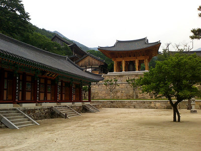 The lecture hall (beopdang) and the bell tower (chonggak) at the Hwaeomsa Temple at Jirisan National Park.  1 June 2013