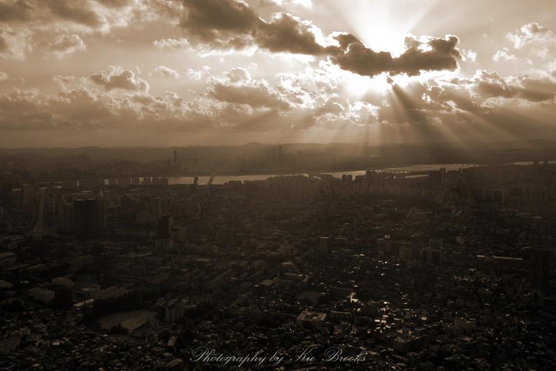 Crepuscular (sun) rays over Seoul.