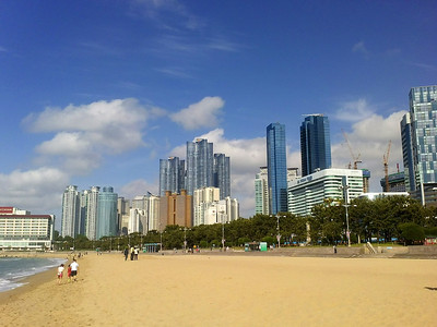 The Busan skyline at Haeundae Beach.  17 May 2013