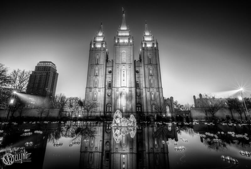 Salt Lake LDS Temple during Christmas Time