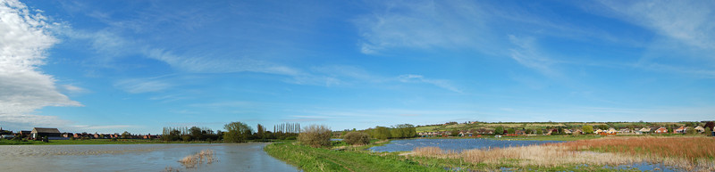 The river on the left, flooded fields on the right, in the Brant Road area