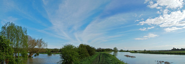Looking south from the riverside path near Brant Road. the river is on the right, flooded fields on the left