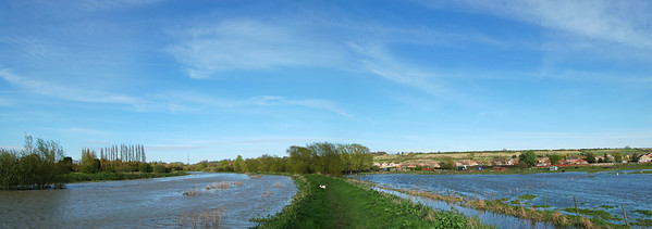 The river on the left and flooded fields on the right in the Brant Road area