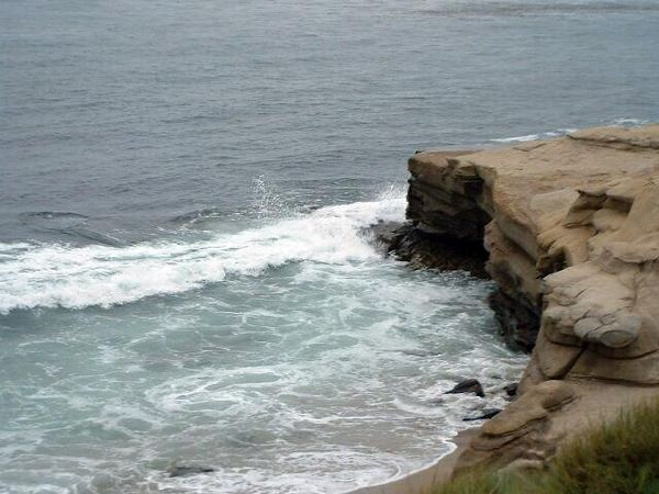 waves striking sea cliff -- La Jolla, 28 Jun 2003