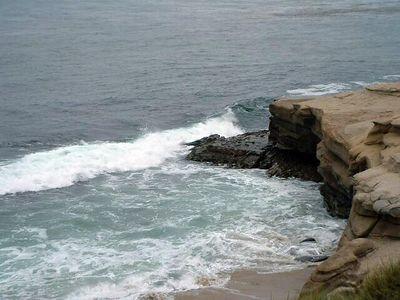 waves striking sea cliff -- La Jolla, 28 Jun 2003