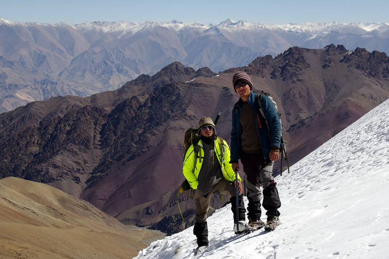 My guide sunny and his friend at the edge of the cliff of the Stok glacier.