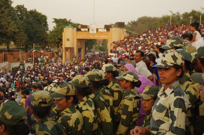 Watching the parade at the Wagha Border
