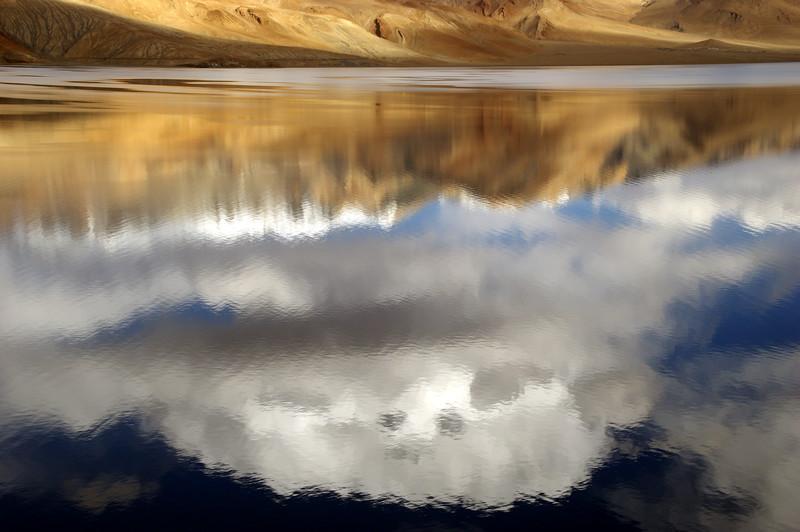 Reflection of clouds at Tsomoriri Lake