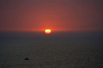 Sunset over the Pacific ocean.