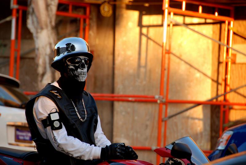 Skull motorcycle rider