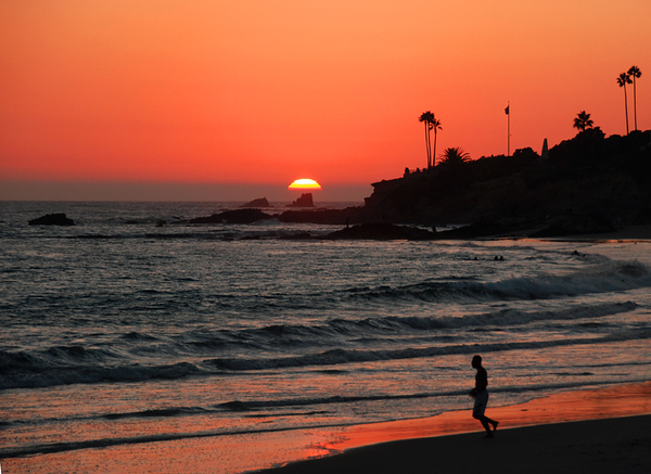 Laguna sunset with jogger