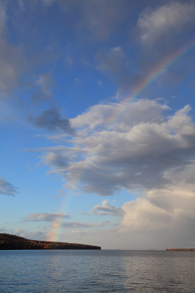 Rainbow following rogue storm cloud that passed over Lake Champlain.