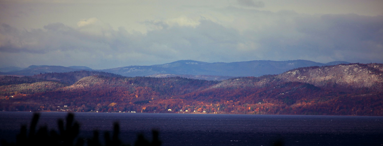 Adirondack Mountains, NY, from Burlingtion, VT, looking across Lake Champlain.