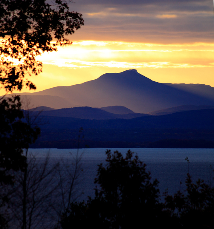 Sunrise over Camel's Hump, Vt, viewed from the NY side of Lake Champlain.