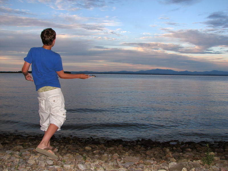 Skipping stones at Vermont.  We've never hit it but we'll never quit trying.