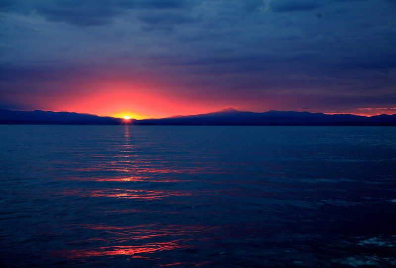 Sunrise over Vermont and Lake Champlain.  Get up early and you'll see some crazy stuff.