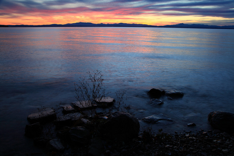 First light, looking at Burlington, Vt, from the NY side of Lake Champlain.