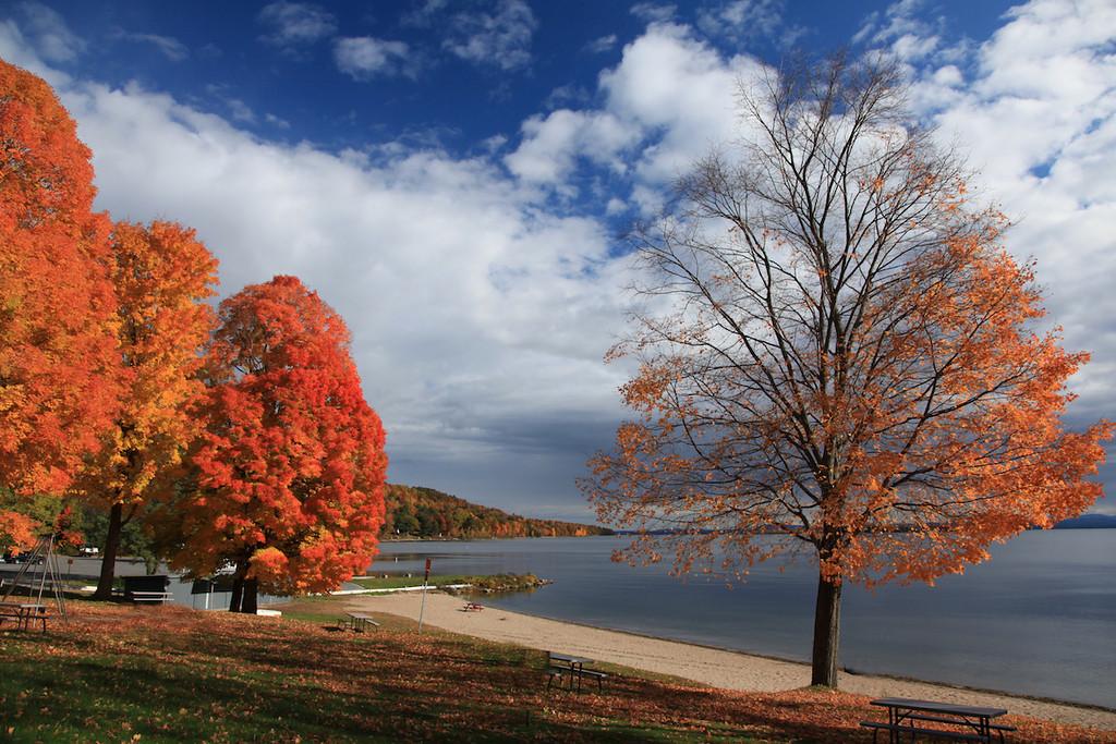 Port Douglas beach, Lake Champlain, NY, in October.