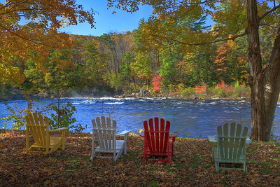 Adirondack chairs overlooking Hudson River at Luzerne, NY.