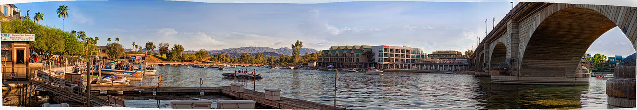 Lake Havasu, Heat Hotel and the London Bridge. Fourteen (14) images were used for this panoramic photo.