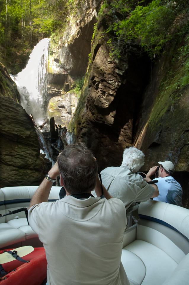 Photographing Laurel Fork Falls on Lake Jocassee, Oconee County, SC