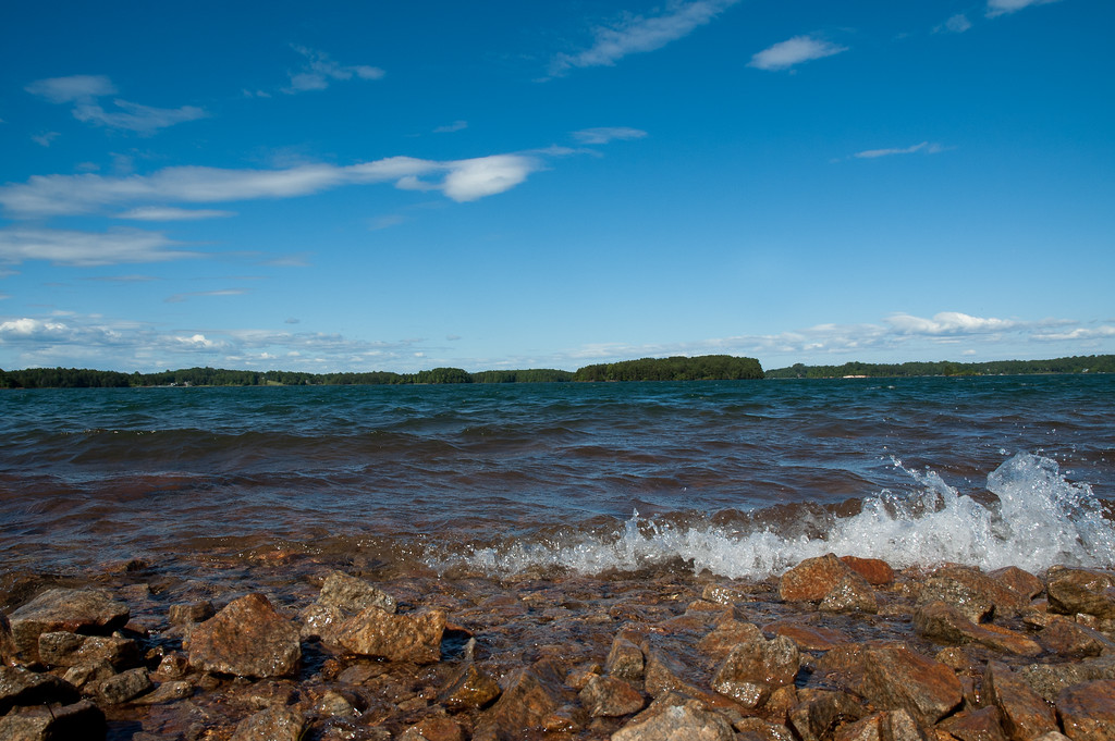 Rocky shore and waves on Lake Keowee