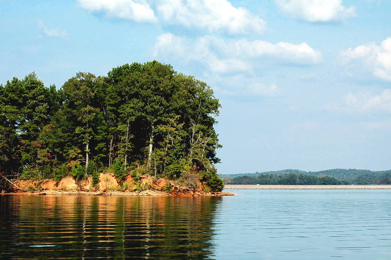 One of the many islands on Lake Keowee