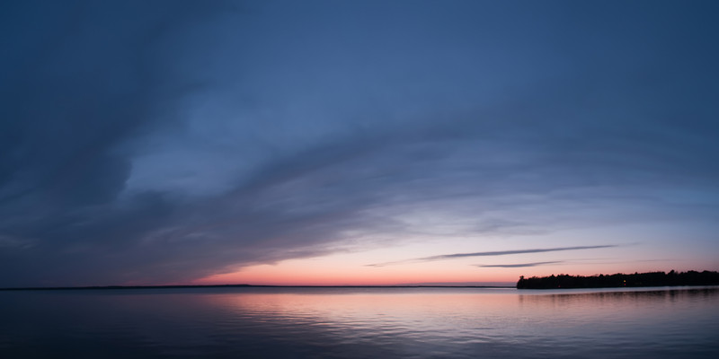 Indian Lake Sunset-7 stitched portrait-mode photos, cropped to a 2 to 1 aspect ratio.