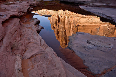 2009_DSC0427    A cliff face is reflected from water in a pool