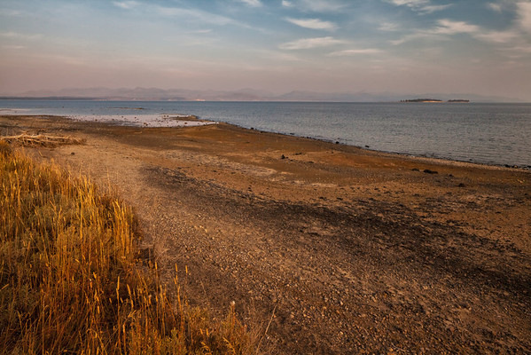 Yellowstone Lake - West Thumb area - again with the pink haze from so many active wildfires.