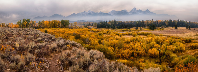Grand Teton National Park (stitched panoramic). Smokey wildfire haze!