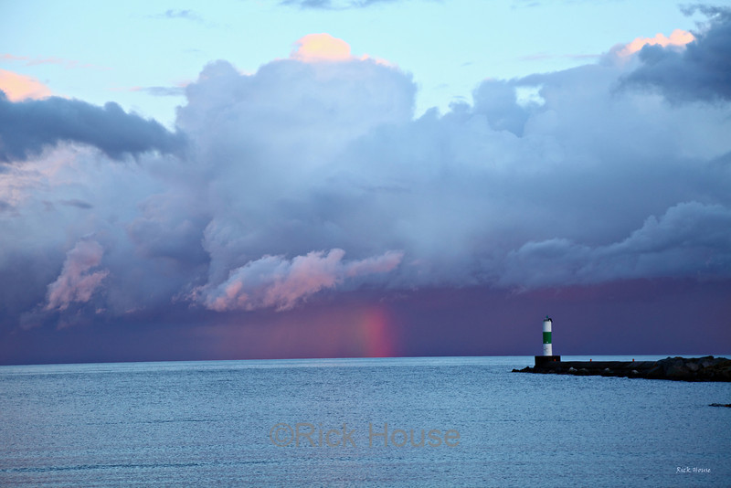 Sunset rainbow at Grand Marais
