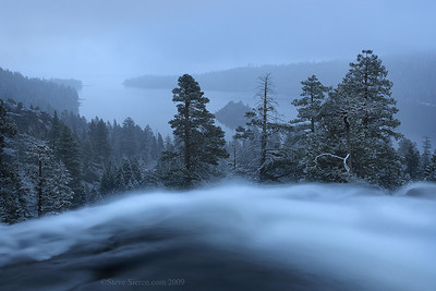Eagle Falls in Emerald Bay during a snow storm in Lake Tahoe.