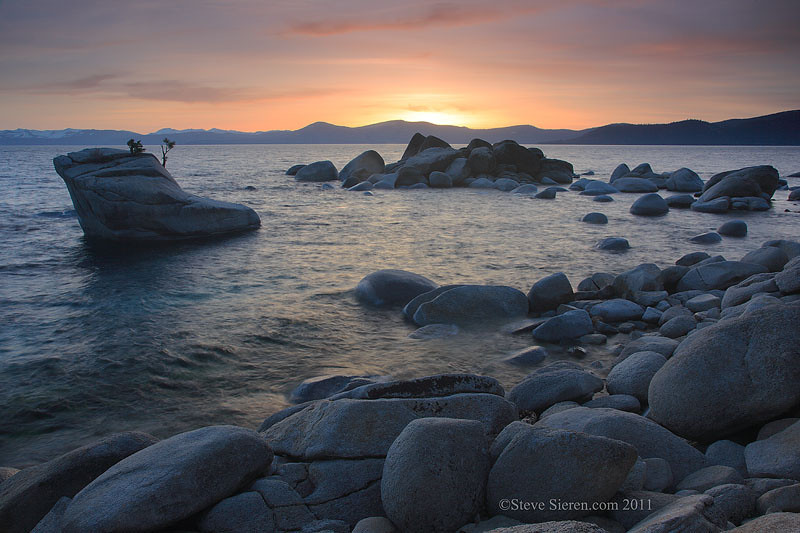 Bonsai Rock at sunset in Lake Tahoe, Nevada side.