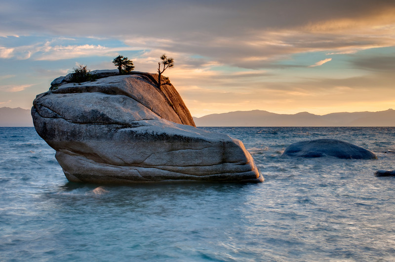 """Bonsai Rock and Tree at Sunset""  Lake Tahoe"