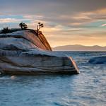 """Bonsai Rock and Tree at Sunset""  Lake Tahoe"