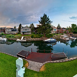 9/1 - Tahoe Keys - Out the back door of our rental house.  We stayed up in Tahoe Keys a few weeks ago.  This is the view out the back door on to the lagoon with the clearing storm at sunset.  This is a 6 exposure panorama.