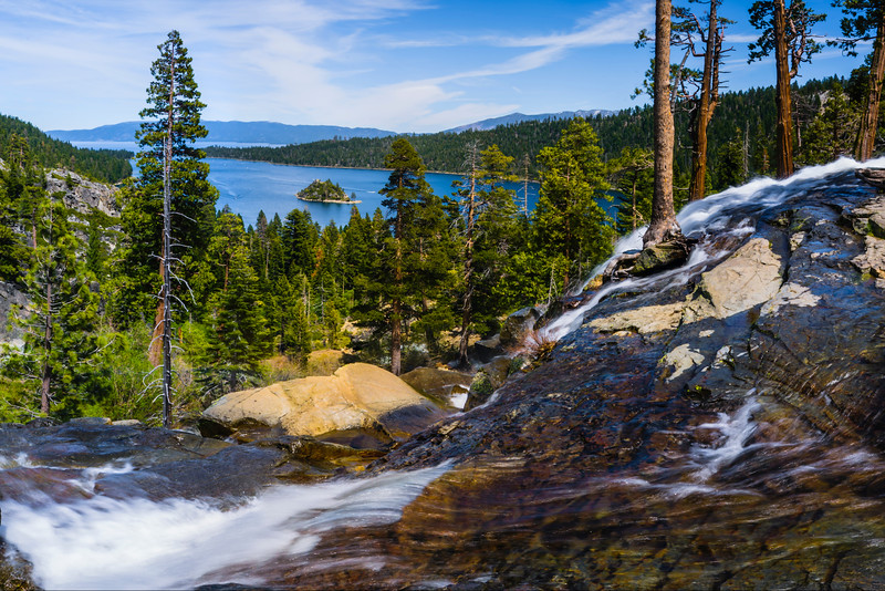 """Emerald Bay State Park"" One of the many awesome places in Lake Tahoe. Eagle Falls and Emerald Bay State Park with the Vikingsholm and Fannette Island. The hiking around there is fantastic with the Desolation Wilderness trails. Add this to your places to go while in Lake Tahoe!  - This is a standard ratio print - a 1:2 ratio panorama is also available."