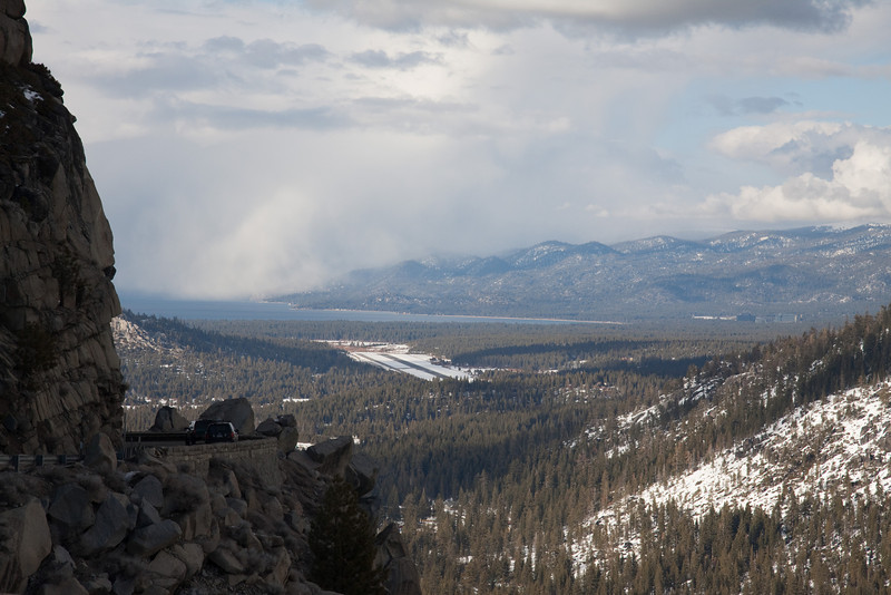 The view looking north toward the south end of Lake Tahoe from US 50.