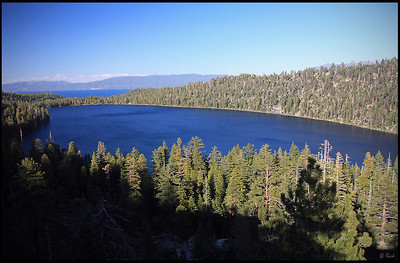 Cascade Lake in late afternoon, with Lake Tahoe in the distance