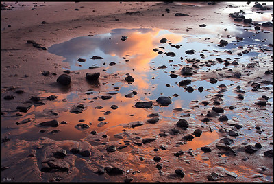 Reflection of Afterglow on Beach, Lake Tahoe, Sunset