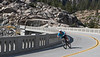 Mountain biker makes a rapid descent down the grade from Donner Summit.