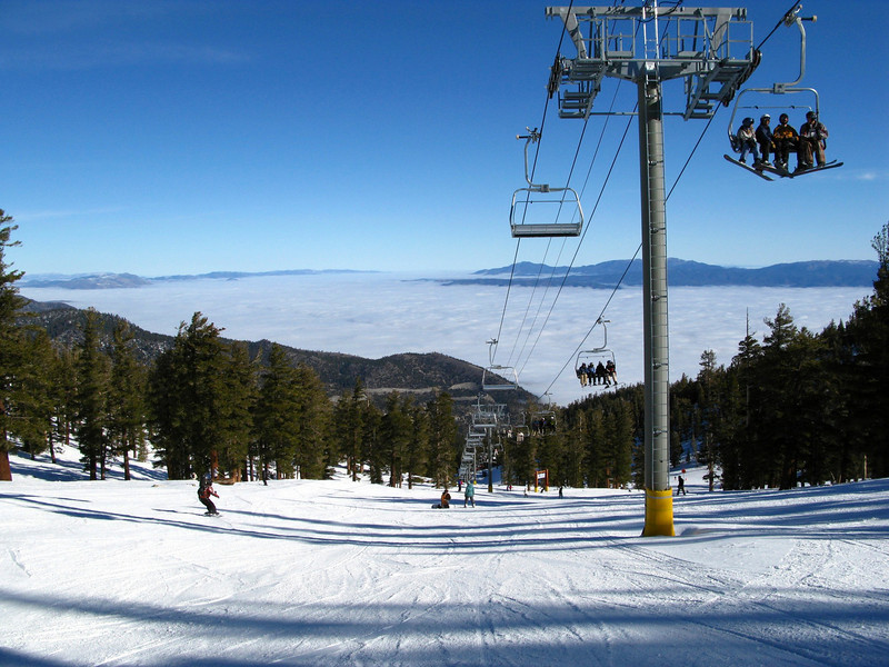 Olympic Chair, Heavenly, with inversion layer over Carson Valley.